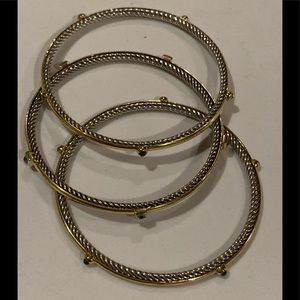 Set of 3 David Yurman confetti gold/silver bangles